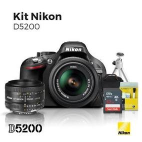 Camera Nikom D5200 + Lente 18-55 + 50mm + Bolsa E Tripé
