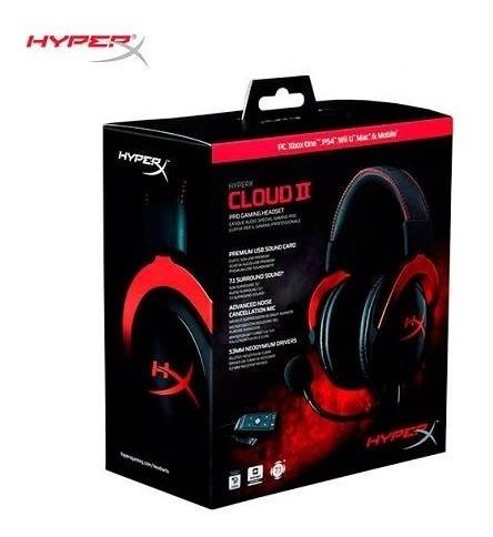 Hyper X Cloud 2 Gaming Red Diadema Gamer 7.1 Xbox Ps4 Pc