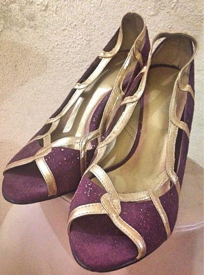 Sapato Peeptoy Salto Fino Roxo Dourado 38 Bico Grosso
