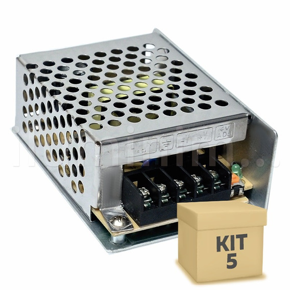 Kit 5 Fonte Chaveada 5a 60w P/ Fita De Led Automotivo Cftv