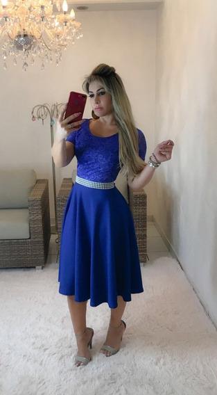 Vestido Midi Godê Brinde Cinto De Cetim Com Pérolas