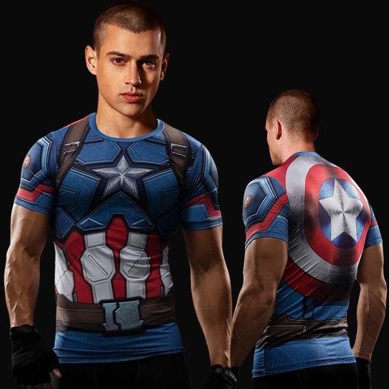 Camiseta Compressao Capitao America Marvel Primeiro Vingador