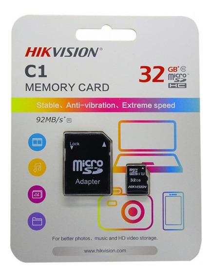 Cartão Memoria Micro Sd Hikvision 32gb + 1 Adpt. Class 10