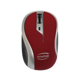 Mouse Sem Fio Wave Vermelho 1600dpi Usb Nano 2,4ghz Newlink