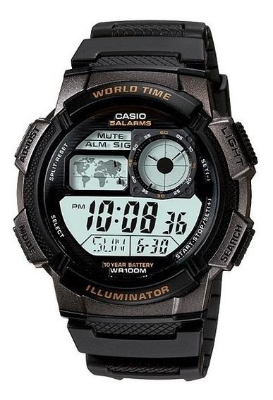 Relogio Casio Ae 1000w-1a Borracha Mapa Preto Crono Alarme