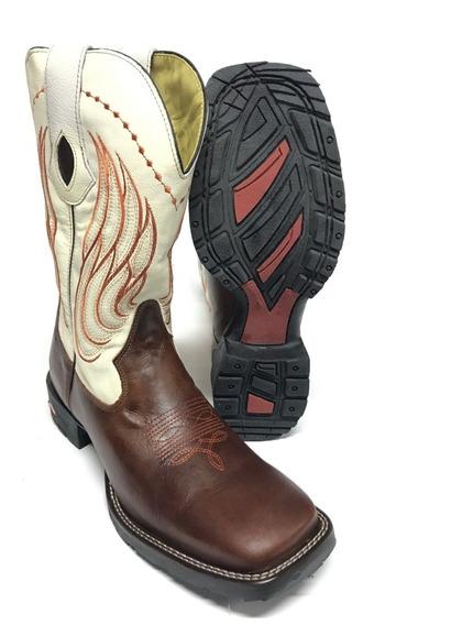 Bota Texana Country Masculina Silverado Rústica Marrom Com Cano Branco 100% Couro- Durabilidade Máxima Super Confortável