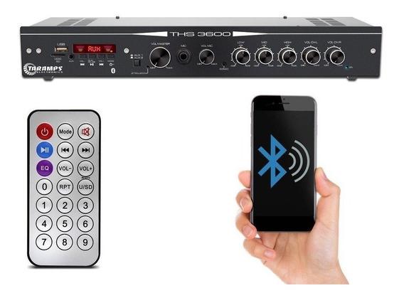 Receiver Taramps Ths 3600 Mic Usb Bluetooth Aux Som Ambient