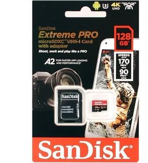Cartão Memoria Microsd 128gb Extreme Pro Sandisk 170mb/s Gopro 4k A2 Lacrado Gopro Mavic Pro Platinum Com Adaptador