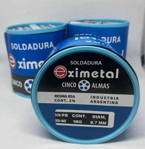 Estaño 60/40 .7 1 2mm Eximetal Carrete Soldar Smd Bobina 1kg