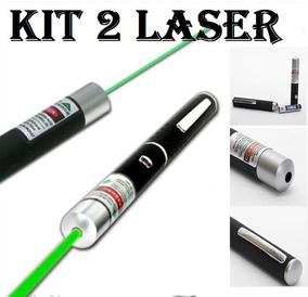 Kit 2 Caneta Laser Pointer Verde Green Portátil + 5 Pontas