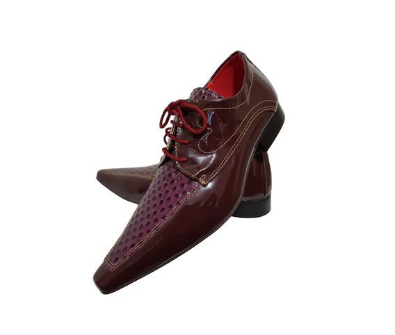 Sapato Masculino Em Couro Vermelho Com Xadrez Ref:720