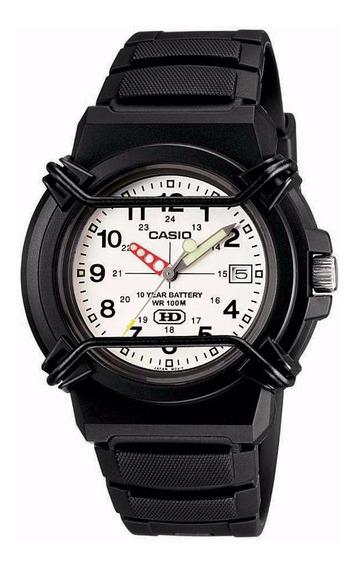 Relógio Casio Preto Mostrador Branco Analógico Calendário