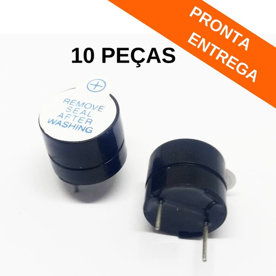 10x Buzzer Contínuo 5v 12mm Boa Qualidade (10 Peças)