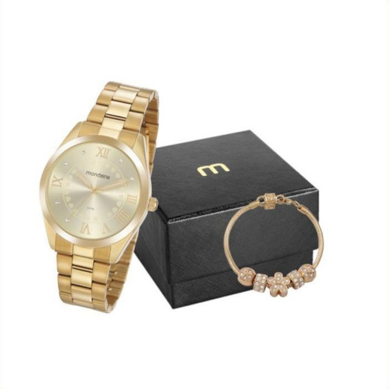 Kit Relógio Feminino Mondaine Dourado 53918lpmgde1k1