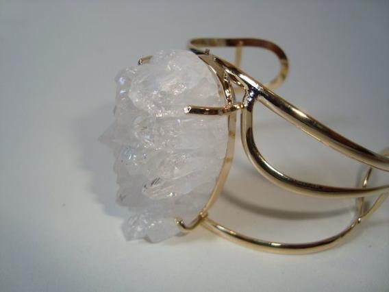 Pulseira Bracelete Drusa Cristal Metal Dourado Regulável 01