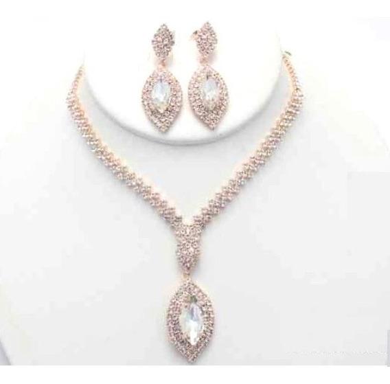 Collar Con Aretes Dije En Gota Cafu187-36 A20