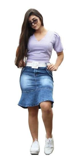 Saias Evangélicas Saia Jeans Evangélica Com Elastano Moda Evangélica Promoção Liquida Estoque 064