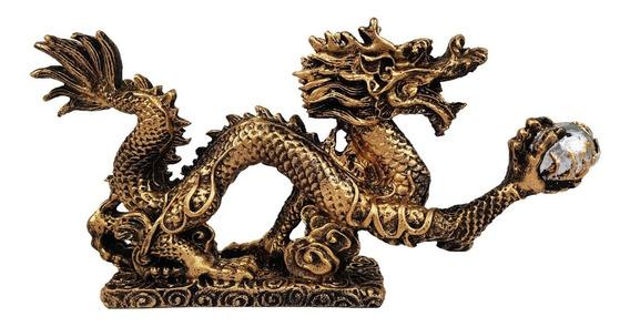 Dragão Chinês Com Base Decorativo De Resina
