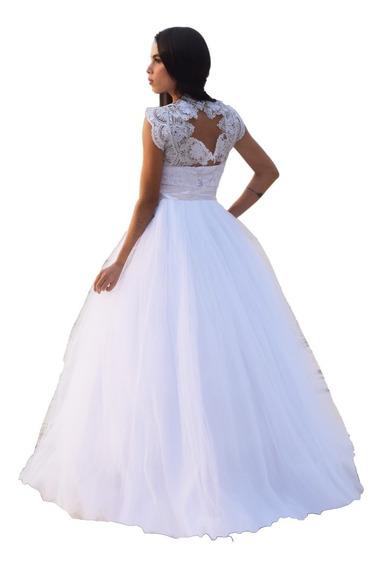 Vestido De Noiva Princesa Alça Renda Brilho Longo + Brinde