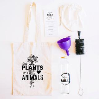 Kit Full Botella Vegan Milk + Embudo + Cepillo + Bolsa Para