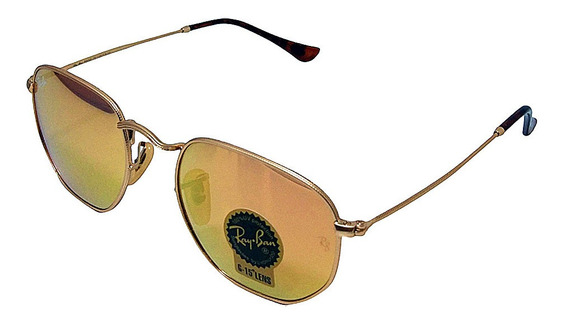 Óculos De Sol Hexagonal Retro Vintage Masculino Feminino Rose Espelhado Tamanho 51 M