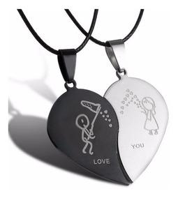 Cordão E Pingentes Meio Coração Namorados Amo Você Aço