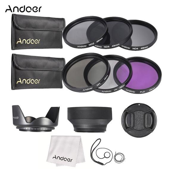 Andoer Estojo Filtro De Lente 49mm Uv + Cpl + Fld + Nd ( Nd2