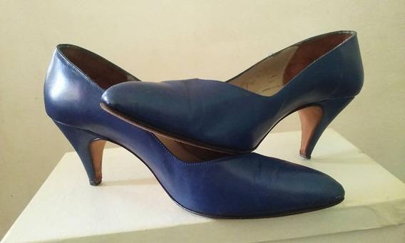 Zapatos Azules Stilettos De Cuero