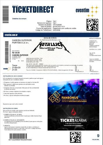 Ingresso Show Metallica Worldwired Tour Porto Alegre 2020