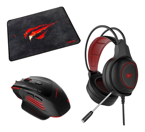 Kit Gamer Mousepad + Mouse 2400dpi 6 Contrapeso + Auricular