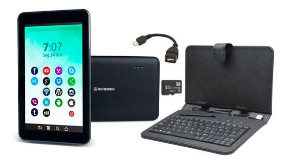 Tablet 7 Polegadas Preto Wifi Capa Com Teclado Cartão 32gb