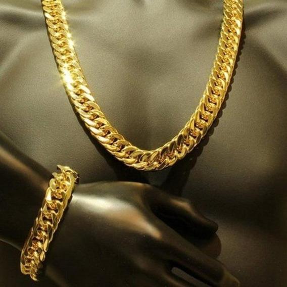 Corrente+pulseira Grosso Apertado 18k Amarelo Ouro Cheio Pes