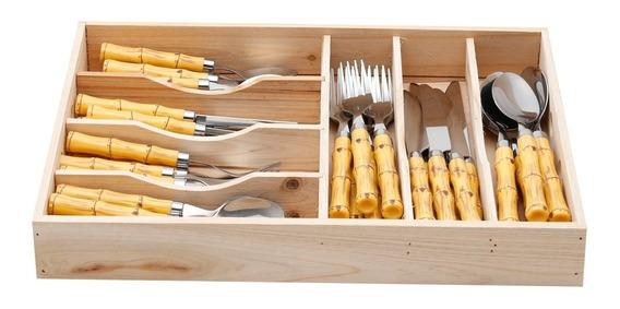 Faqueiro 42 Pcs Bambu Aço Inox Bon Gourmet Design Oferta Loi