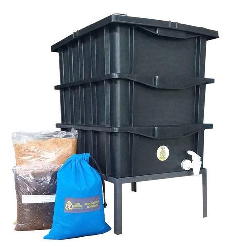 Composteira Doméstica Convencional 15lt  Minhocas E Suporte
