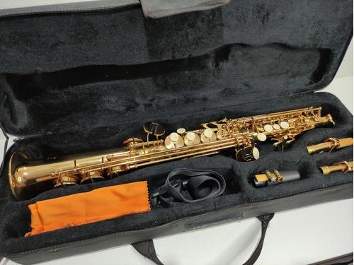 Saxofone Jahnke Brillance Sib Soprano Dourado Completo Reto