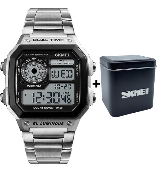 Relógio Skmei 1335 Aço Retrô Prata Digital