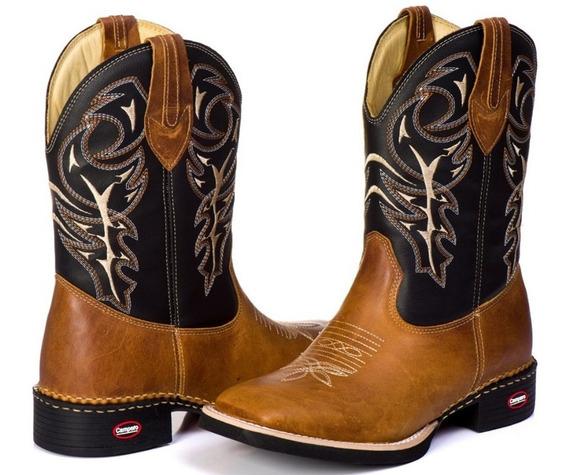Bota Country Bico Quadrado Masculina Texana Couro Cano Longo
