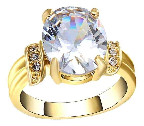 Aro 22 Anel Feminino Pedra Cristal Branco Banhado Ouro 492 P