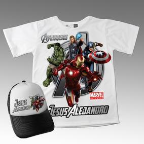 Camiseta Mas Gorra Combo Avengers Marvel Niños Algodón