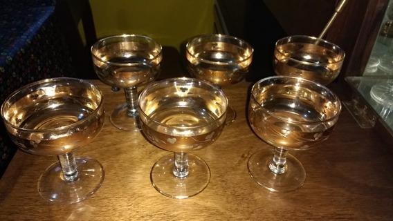 Juego De 6 Copas De Sidra Vintage Cristal Con Detalles Dorad