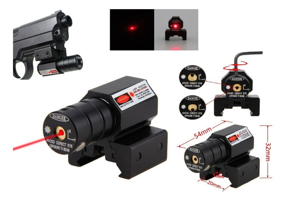 Mira Tactica Laser Red Dot Para Pistola Rifle Aire Gotcha