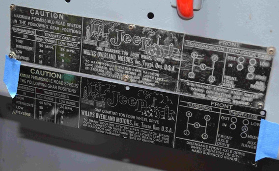 Jeep Willys Cj2a , Placa De Datos