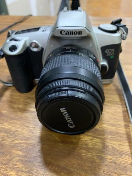 Camera Analógica Canon Eos 500 Lente 35-80mm Tudo Perfeito