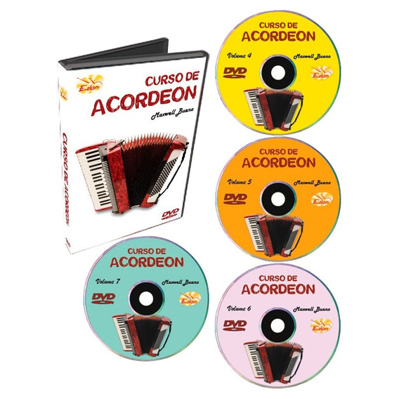 Kit Curso Edon Dvd De Acordeon Para Iniciantes Vol 4 5 6 7 1