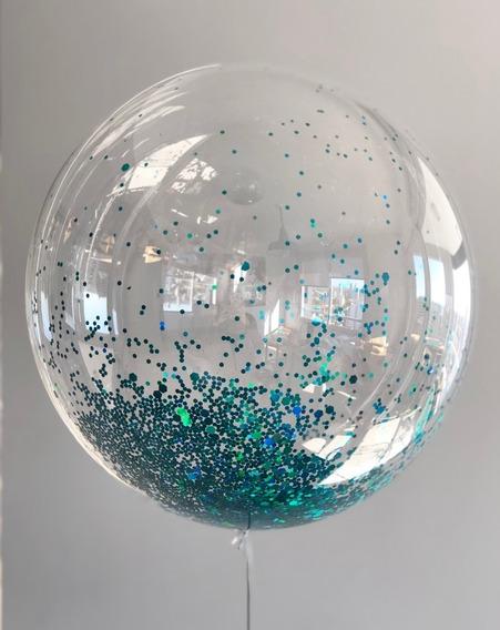 Globo 45cm + Mini Confetti Holografico Burbuja Brillo