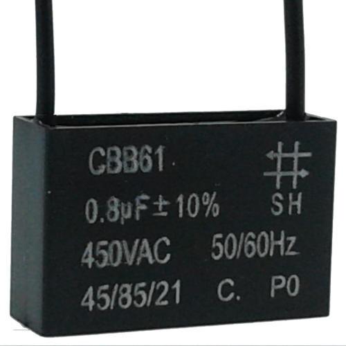 5 Unids Capacitor Partida 0,8uf X 450vac Fio Cbb61 40/85/21