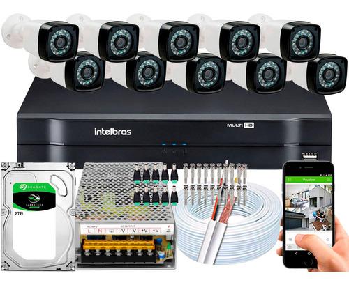 Imagem 1 de 5 de Kit Dvr Intelbras 16 Canais H.265 2tb 10 Câmeras Full Hd 20m