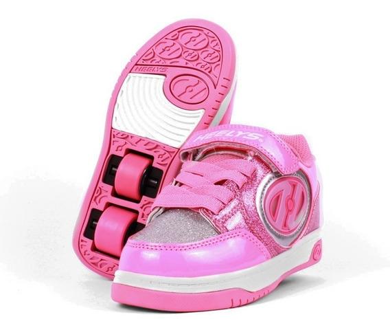 Tenis Heelys Para Niña Rosa Dos Colores Con Luz Led Lateral