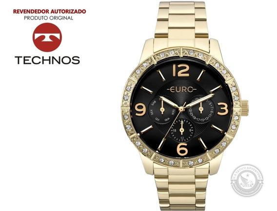 Relógio Euro Feminino Dourado Luxo Eu6p29agx C/ Cristais Top