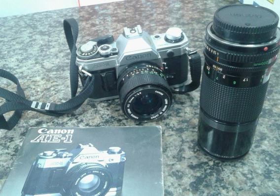 Máquina Fotográfica Canon Ae-1 24 Mm + Lente 200mm